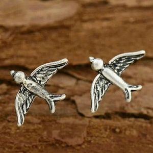 Birds Sparrows Boho Studs Posts Earrings Silver